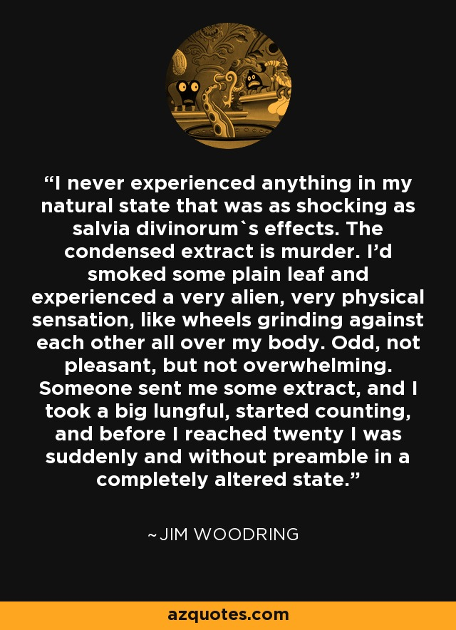 I never experienced anything in my natural state that was as shocking as salvia divinorum`s effects. The condensed extract is murder. I'd smoked some plain leaf and experienced a very alien, very physical sensation, like wheels grinding against each other all over my body. Odd, not pleasant, but not overwhelming. Someone sent me some extract, and I took a big lungful, started counting, and before I reached twenty I was suddenly and without preamble in a completely altered state. - Jim Woodring