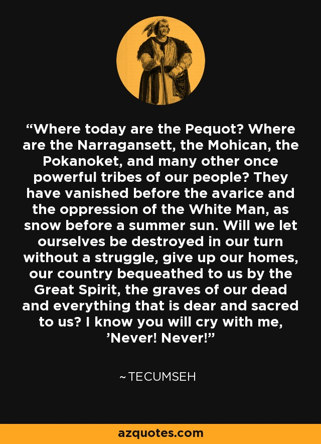 Where today are the Pequot? Where are the Narragansett, the Mohican, the Pokanoket, and many other once powerful tribes of our people? They have vanished before the avarice and the oppression of the White Man, as snow before a summer sun. Will we let ourselves be destroyed in our turn without a struggle, give up our homes, our country bequeathed to us by the Great Spirit, the graves of our dead and everything that is dear and sacred to us? I know you will cry with me, 'Never! Never!' - Tecumseh