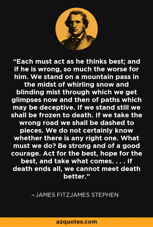 Each must act as he thinks best; and if he is wrong, so much the worse for him. We stand on a mountain pass in the midst of whirling snow and blinding mist through which we get glimpses now and then of paths which may be deceptive. If we stand still we shall be frozen to death. If we take the wrong road we shall be dashed to pieces. We do not certainly know whether there is any right one. What must we do? Be strong and of a good courage. Act for the best, hope for the best, and take what comes. . . . If death ends all, we cannot meet death better. - James Fitzjames Stephen