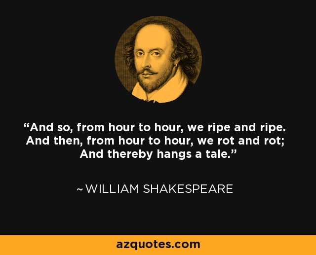 And so, from hour to hour, we ripe and ripe. And then, from hour to hour, we rot and rot; And thereby hangs a tale. - William Shakespeare