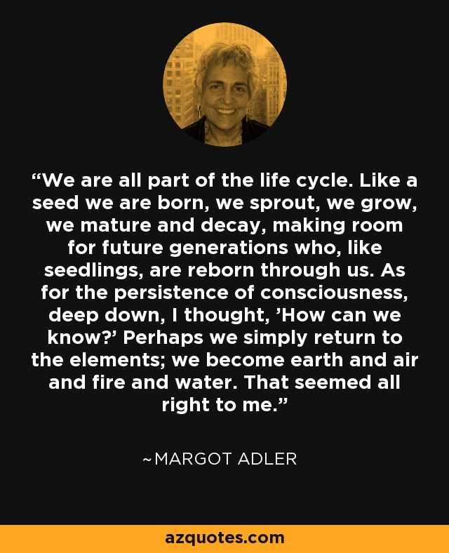 We are all part of the life cycle. Like a seed we are born, we sprout, we grow, we mature and decay, making room for future generations who, like seedlings, are reborn through us. As for the persistence of consciousness, deep down, I thought, 'How can we know?' Perhaps we simply return to the elements; we become earth and air and fire and water. That seemed all right to me. - Margot Adler