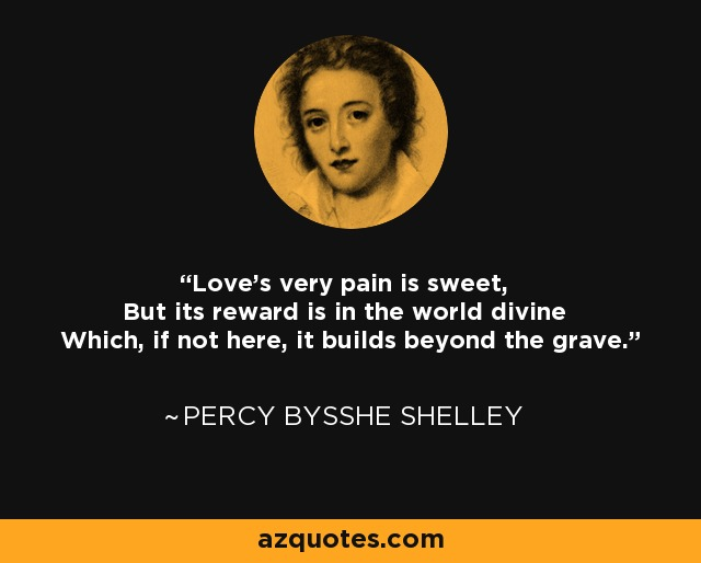 Love's very pain is sweet, But its reward is in the world divine Which, if not here, it builds beyond the grave. - Percy Bysshe Shelley