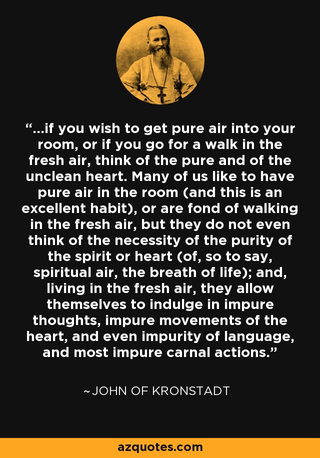 ...if you wish to get pure air into your room, or if you go for a walk in the fresh air, think of the pure and of the unclean heart. Many of us like to have pure air in the room (and this is an excellent habit), or are fond of walking in the fresh air, but they do not even think of the necessity of the purity of the spirit or heart (of, so to say, spiritual air, the breath of life); and, living in the fresh air, they allow themselves to indulge in impure thoughts, impure movements of the heart, and even impurity of language, and most impure carnal actions. - John of Kronstadt
