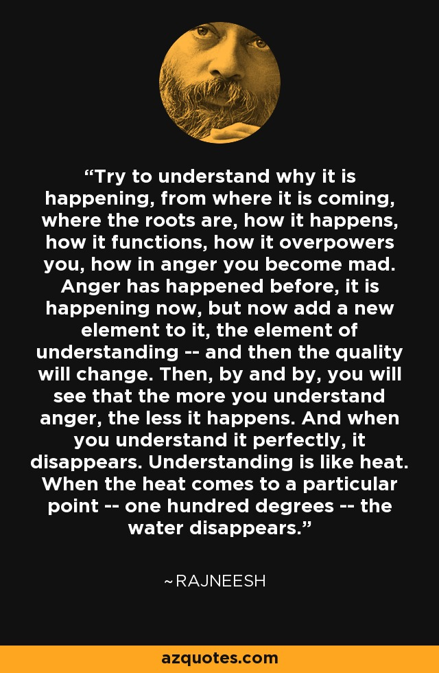 Try to understand why it is happening, from where it is coming, where the roots are, how it happens, how it functions, how it overpowers you, how in anger you become mad. Anger has happened before, it is happening now, but now add a new element to it, the element of understanding -- and then the quality will change. Then, by and by, you will see that the more you understand anger, the less it happens. And when you understand it perfectly, it disappears. Understanding is like heat. When the heat comes to a particular point -- one hundred degrees -- the water disappears. - Rajneesh