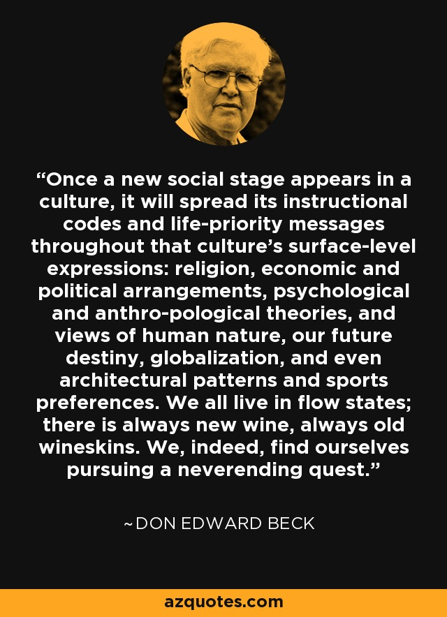 Once a new social stage appears in a culture, it will spread its instructional codes and life-priority messages throughout that culture's surface-level expressions: religion, economic and political arrangements, psychological and anthro-pological theories, and views of human nature, our future destiny, globalization, and even architectural patterns and sports preferences. We all live in flow states; there is always new wine, always old wineskins. We, indeed, find ourselves pursuing a neverending quest. - Don Edward Beck