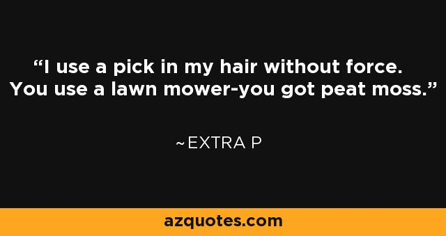 I use a pick in my hair without force. You use a lawn mower-you got peat moss. - Extra P