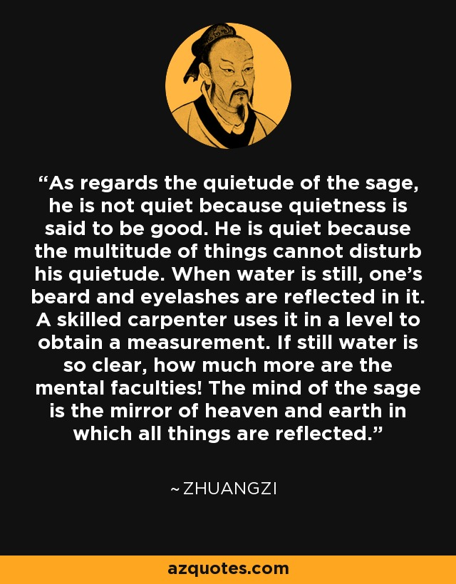 As regards the quietude of the sage, he is not quiet because quietness is said to be good. He is quiet because the multitude of things cannot disturb his quietude. When water is still, one's beard and eyelashes are reflected in it. A skilled carpenter uses it in a level to obtain a measurement. If still water is so clear, how much more are the mental faculties! The mind of the sage is the mirror of heaven and earth in which all things are reflected. - Zhuangzi