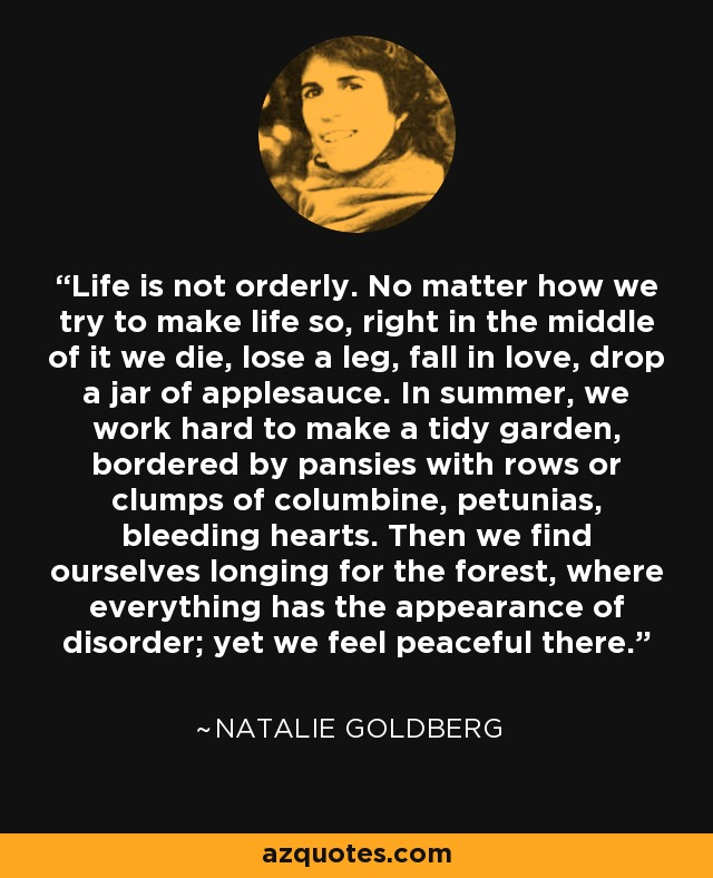 Life is not orderly. No matter how we try to make life so, right in the middle of it we die, lose a leg, fall in love, drop a jar of applesauce. In summer, we work hard to make a tidy garden, bordered by pansies with rows or clumps of columbine, petunias, bleeding hearts. Then we find ourselves longing for the forest, where everything has the appearance of disorder; yet we feel peaceful there. - Natalie Goldberg