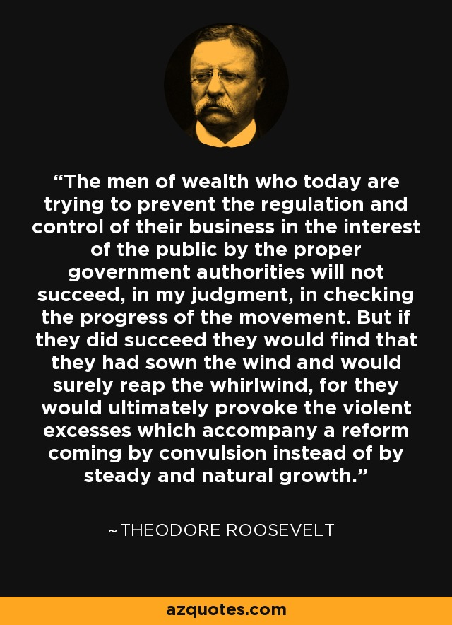 The men of wealth who today are trying to prevent the regulation and control of their business in the interest of the public by the proper government authorities will not succeed, in my judgment, in checking the progress of the movement. But if they did succeed they would find that they had sown the wind and would surely reap the whirlwind, for they would ultimately provoke the violent excesses which accompany a reform coming by convulsion instead of by steady and natural growth. - Theodore Roosevelt