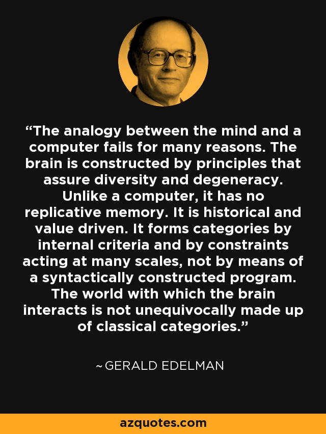 The analogy between the mind and a computer fails for many reasons. The brain is constructed by principles that assure diversity and degeneracy. Unlike a computer, it has no replicative memory. It is historical and value driven. It forms categories by internal criteria and by constraints acting at many scales, not by means of a syntactically constructed program. The world with which the brain interacts is not unequivocally made up of classical categories. - Gerald Edelman