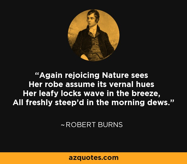 Again rejoicing Nature sees Her robe assume its vernal hues Her leafy locks wave in the breeze, All freshly steep'd in the morning dews. - Robert Burns