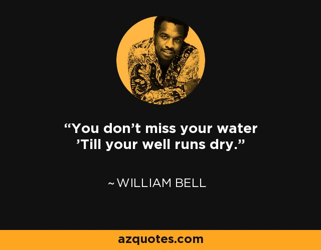 You don't miss your water 'Till your well runs dry. - William Bell
