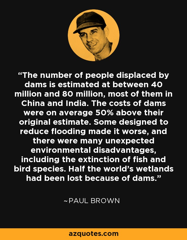 The number of people displaced by dams is estimated at between 40 million and 80 million, most of them in China and India. The costs of dams were on average 50% above their original estimate. Some designed to reduce flooding made it worse, and there were many unexpected environmental disadvantages, including the extinction of fish and bird species. Half the world's wetlands had been lost because of dams. - Paul Brown