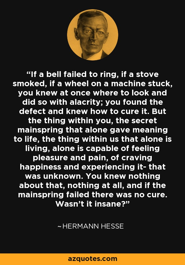 If a bell failed to ring, if a stove smoked, if a wheel on a machine stuck, you knew at once where to look and did so with alacrity; you found the defect and knew how to cure it. But the thing within you, the secret mainspring that alone gave meaning to life, the thing within us that alone is living, alone is capable of feeling pleasure and pain, of craving happiness and experiencing it- that was unknown. You knew nothing about that, nothing at all, and if the mainspring failed there was no cure. Wasn't it insane? - Hermann Hesse