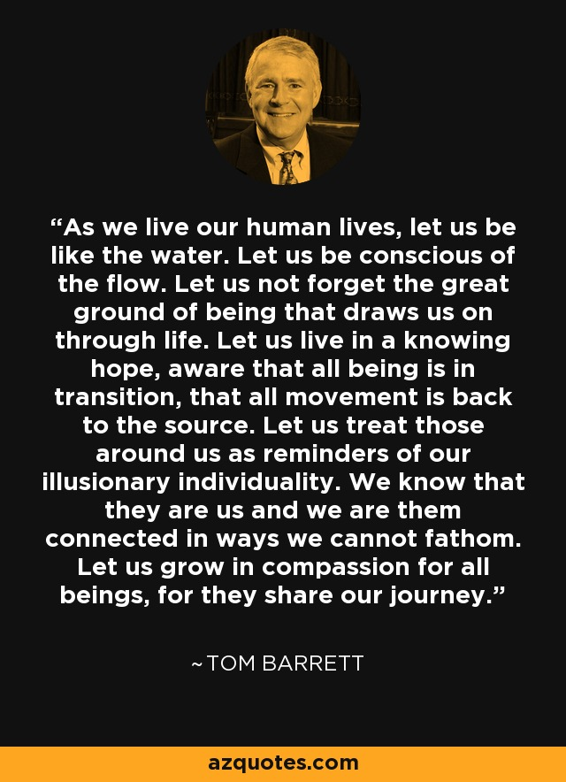 As we live our human lives, let us be like the water. Let us be conscious of the flow. Let us not forget the great ground of being that draws us on through life. Let us live in a knowing hope, aware that all being is in transition, that all movement is back to the source. Let us treat those around us as reminders of our illusionary individuality. We know that they are us and we are them connected in ways we cannot fathom. Let us grow in compassion for all beings, for they share our journey. - Tom Barrett