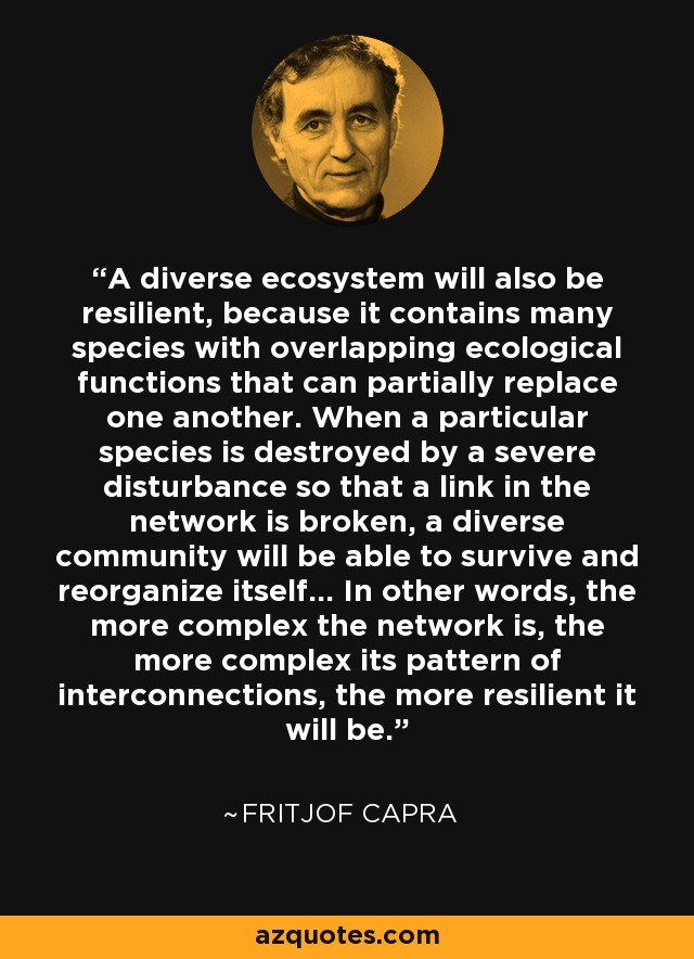 A diverse ecosystem will also be resilient, because it contains many species with overlapping ecological functions that can partially replace one another. When a particular species is destroyed by a severe disturbance so that a link in the network is broken, a diverse community will be able to survive and reorganize itself... In other words, the more complex the network is, the more complex its pattern of interconnections, the more resilient it will be. - Fritjof Capra