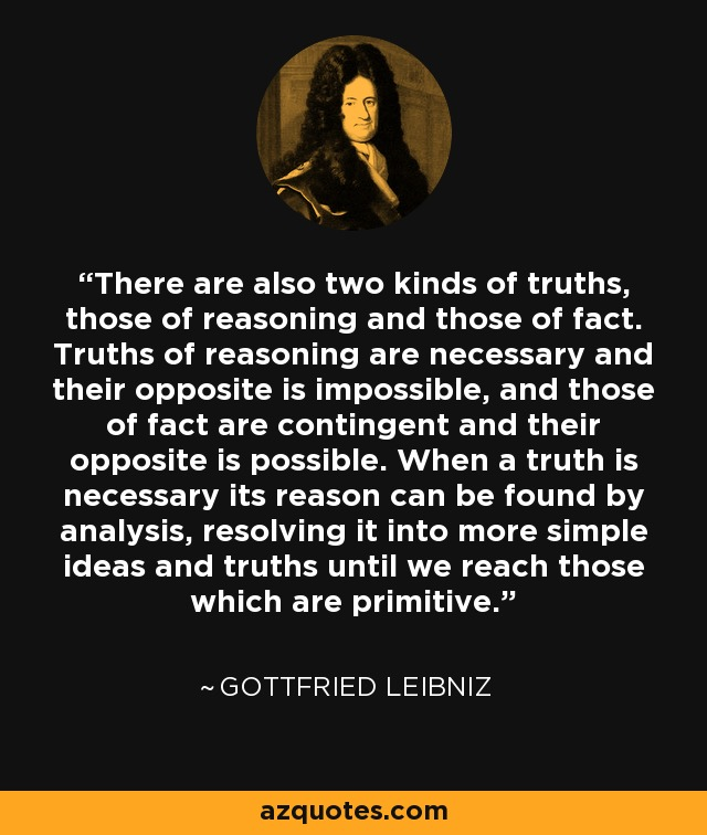 There are also two kinds of truths, those of reasoning and those of fact. Truths of reasoning are necessary and their opposite is impossible, and those of fact are contingent and their opposite is possible. When a truth is necessary its reason can be found by analysis, resolving it into more simple ideas and truths until we reach those which are primitive. - Gottfried Leibniz