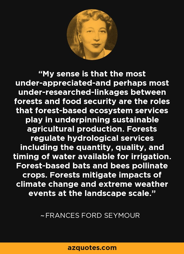 My sense is that the most under-appreciated-and perhaps most under-researched-linkages between forests and food security are the roles that forest-based ecosystem services play in underpinning sustainable agricultural production. Forests regulate hydrological services including the quantity, quality, and timing of water available for irrigation. Forest-based bats and bees pollinate crops. Forests mitigate impacts of climate change and extreme weather events at the landscape scale. - Frances Ford Seymour