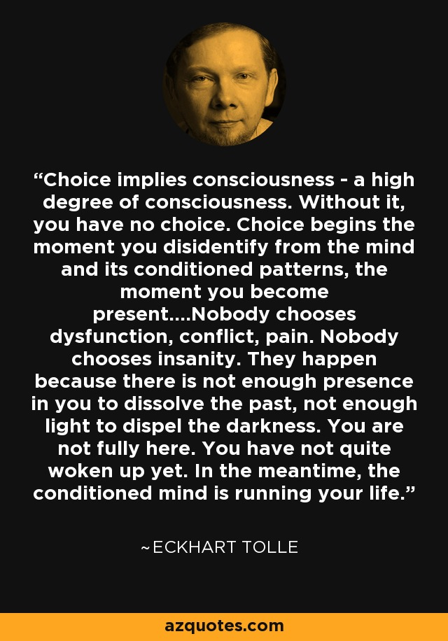 Choice implies consciousness - a high degree of consciousness. Without it, you have no choice. Choice begins the moment you disidentify from the mind and its conditioned patterns, the moment you become present....Nobody chooses dysfunction, conflict, pain. Nobody chooses insanity. They happen because there is not enough presence in you to dissolve the past, not enough light to dispel the darkness. You are not fully here. You have not quite woken up yet. In the meantime, the conditioned mind is running your life. - Eckhart Tolle