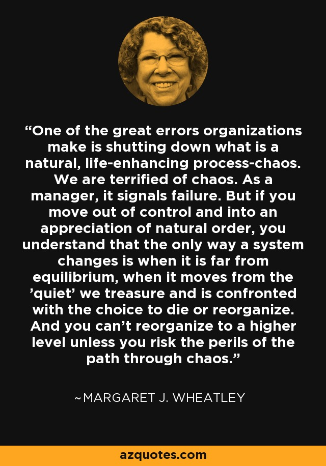 One of the great errors organizations make is shutting down what is a natural, life-enhancing process-chaos. We are terrified of chaos. As a manager, it signals failure. But if you move out of control and into an appreciation of natural order, you understand that the only way a system changes is when it is far from equilibrium, when it moves from the 'quiet' we treasure and is confronted with the choice to die or reorganize. And you can't reorganize to a higher level unless you risk the perils of the path through chaos. - Margaret J. Wheatley