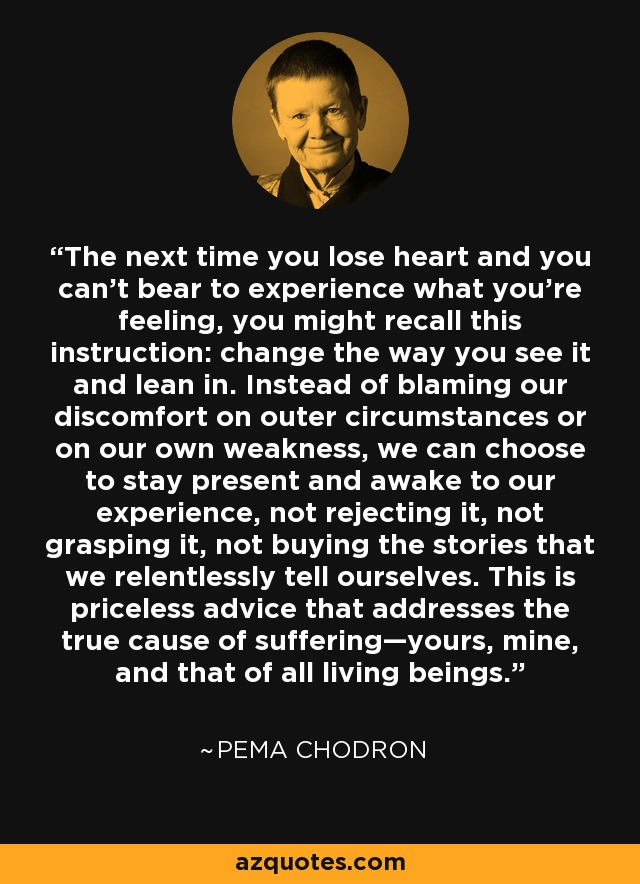The next time you lose heart and you can't bear to experience what you're feeling, you might recall this instruction: change the way you see it and lean in. Instead of blaming our discomfort on outer circumstances or on our own weakness, we can choose to stay present and awake to our experience, not rejecting it, not grasping it, not buying the stories that we relentlessly tell ourselves. This is priceless advice that addresses the true cause of suffering—yours, mine, and that of all living beings. - Pema Chodron