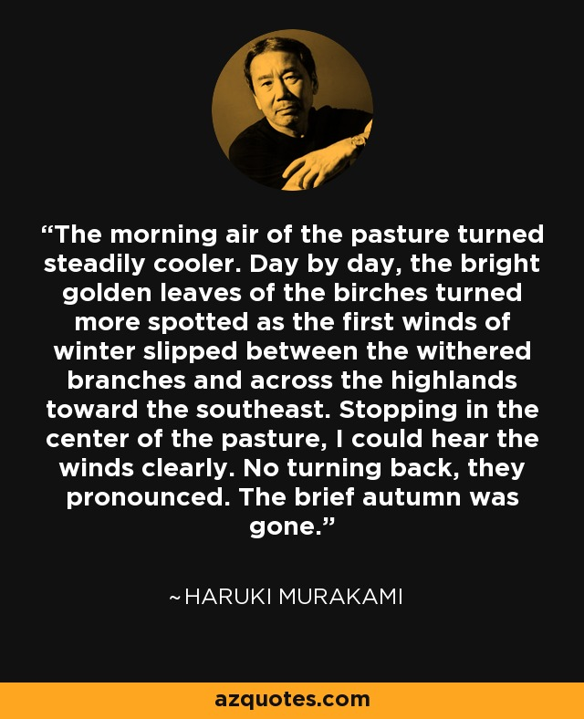 The morning air of the pasture turned steadily cooler. Day by day, the bright golden leaves of the birches turned more spotted as the first winds of winter slipped between the withered branches and across the highlands toward the southeast. Stopping in the center of the pasture, I could hear the winds clearly. No turning back, they pronounced. The brief autumn was gone. - Haruki Murakami