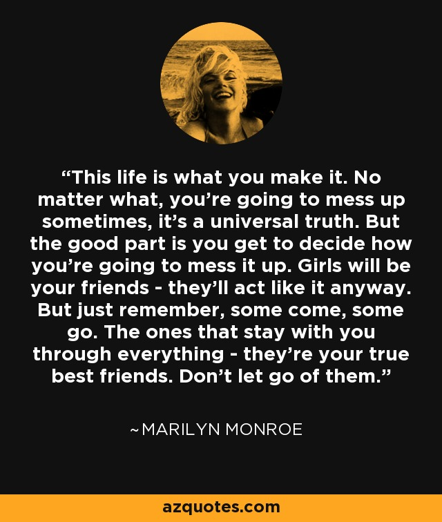 Marilyn Monroe Quote This Life Is What You Make It No Matter What Extraordinary Marilyn Monroe Quotes About Friendship