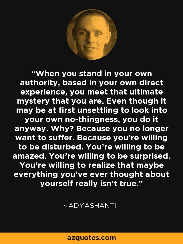 When you stand in your own authority, based in your own direct experience, you meet that ultimate mystery that you are. Even though it may be at first unsettling to look into your own no-thingness, you do it anyway. Why? Because you no longer want to suffer. Because you're willing to be disturbed. You're willing to be amazed. You're willing to be surprised. You're willing to realize that maybe everything you've ever thought about yourself really isn't true. - Adyashanti