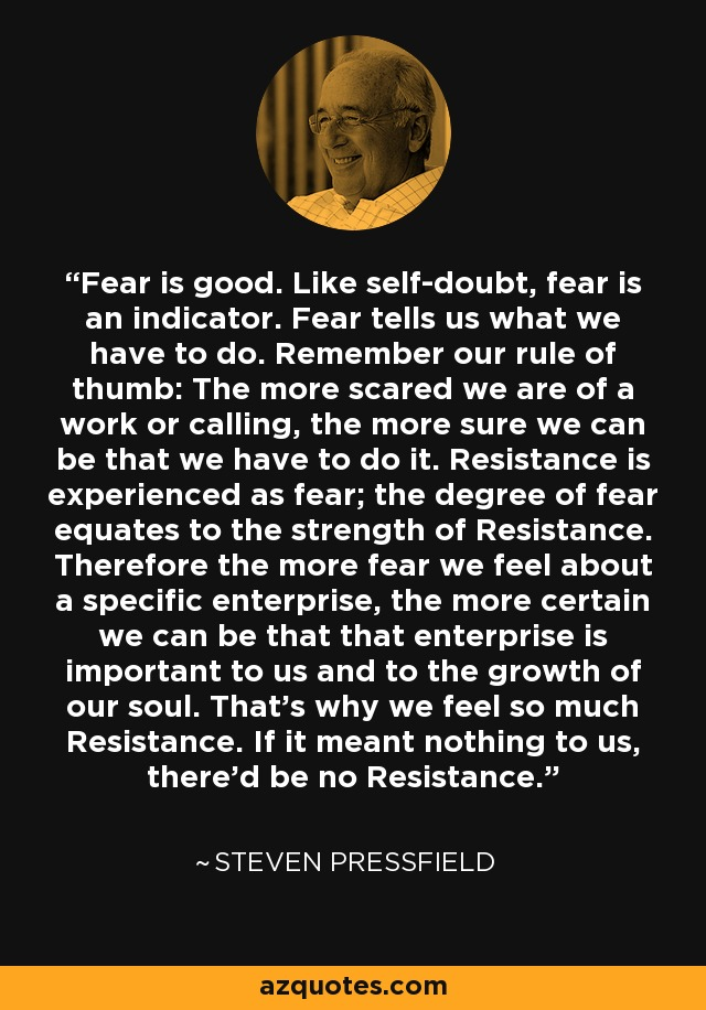 Fear is good. Like self-doubt, fear is an indicator. Fear tells us what we have to do. Remember our rule of thumb: The more scared we are of a work or calling, the more sure we can be that we have to do it. Resistance is experienced as fear; the degree of fear equates to the strength of Resistance. Therefore the more fear we feel about a specific enterprise, the more certain we can be that that enterprise is important to us and to the growth of our soul. That's why we feel so much Resistance. If it meant nothing to us, there'd be no Resistance. - Steven Pressfield