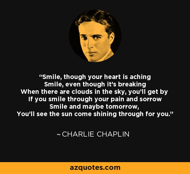 Charlie Chaplin Quote Smile Though Your Heart Is Aching Smile