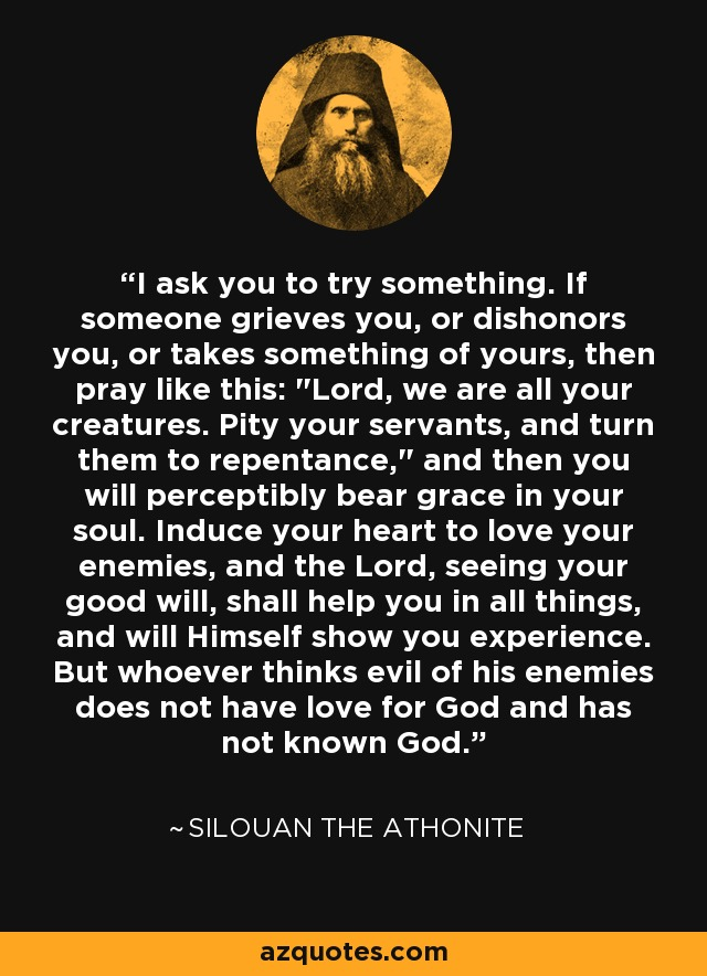 I ask you to try something. If someone grieves you, or dishonors you, or takes something of yours, then pray like this: