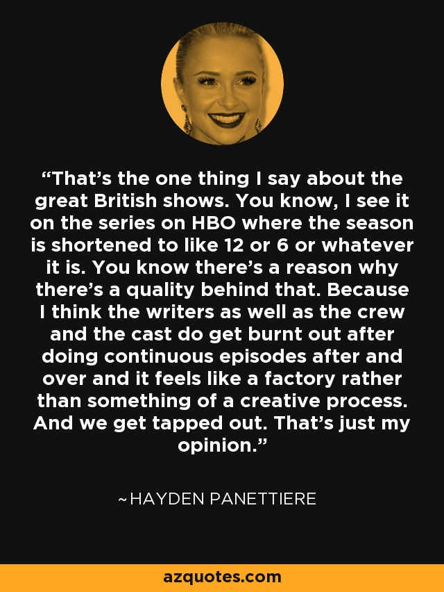 That's the one thing I say about the great British shows. You know, I see it on the series on HBO where the season is shortened to like 12 or 6 or whatever it is. You know there's a reason why there's a quality behind that. Because I think the writers as well as the crew and the cast do get burnt out after doing continuous episodes after and over and it feels like a factory rather than something of a creative process. And we get tapped out. That's just my opinion. - Hayden Panettiere