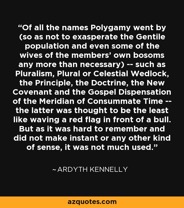 Of all the names Polygamy went by (so as not to exasperate the Gentile population and even some of the wives of the members' own bosoms any more than necessary) -- such as Pluralism, Plural or Celestial Wedlock, the Principle, the Doctrine, the New Covenant and the Gospel Dispensation of the Meridian of Consummate Time -- the latter was thought to be the least like waving a red flag in front of a bull. But as it was hard to remember and did not make instant or any other kind of sense, it was not much used. - Ardyth Kennelly