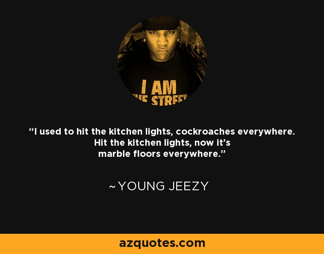 I used to hit the kitchen lights, cockroaches everywhere. Hit the kitchen lights, now it's marble floors everywhere. - Young Jeezy