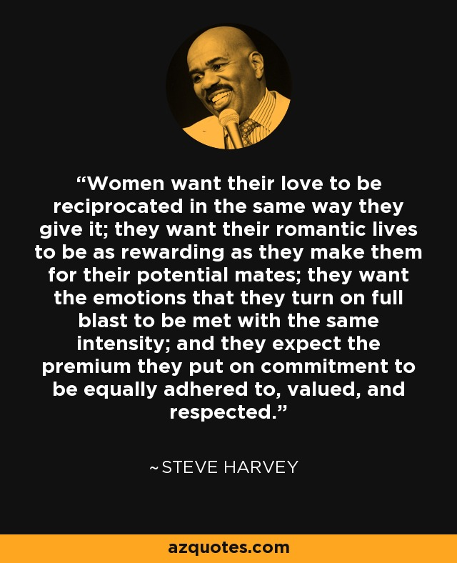 Women want their love to be reciprocated in the same way they give it; they want their romantic lives to be as rewarding as they make them for their potential mates; they want the emotions that they turn on full blast to be met with the same intensity; and they expect the premium they put on commitment to be equally adhered to, valued, and respected. - Steve Harvey