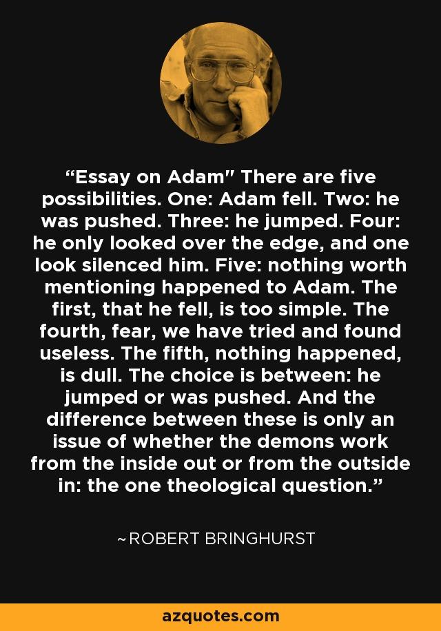 essay on adam robert bringhurst