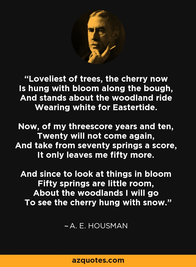Loveliest of trees, the cherry now Is hung with bloom along the bough, And stands about the woodland ride Wearing white for Eastertide. Now, of my threescore years and ten, Twenty will not come again, And take from seventy springs a score, It only leaves me fifty more. And since to look at things in bloom Fifty springs are little room, About the woodlands I will go To see the cherry hung with snow. - A. E. Housman
