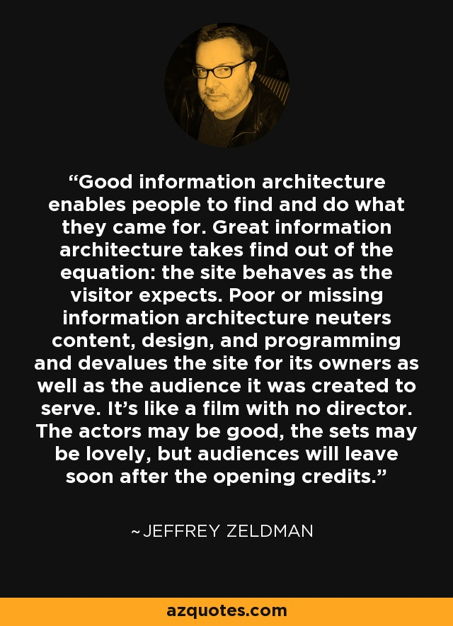 Good information architecture enables people to find and do what they came for. Great information architecture takes find out of the equation: the site behaves as the visitor expects. Poor or missing information architecture neuters content, design, and programming and devalues the site for its owners as well as the audience it was created to serve. It's like a film with no director. The actors may be good, the sets may be lovely, but audiences will leave soon after the opening credits. - Jeffrey Zeldman