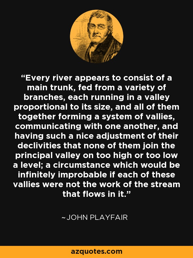 Every river appears to consist of a main trunk, fed from a variety of branches, each running in a valley proportional to its size, and all of them together forming a system of vallies, communicating with one another, and having such a nice adjustment of their declivities that none of them join the principal valley on too high or too low a level; a circumstance which would be infinitely improbable if each of these vallies were not the work of the stream that flows in it. - John Playfair