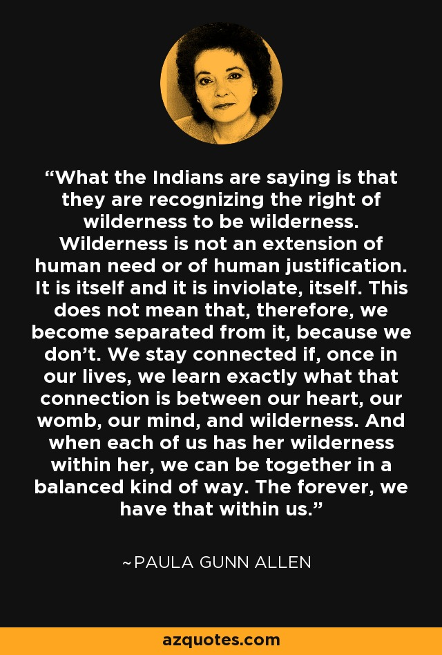 What the Indians are saying is that they are recognizing the right of wilderness to be wilderness. Wilderness is not an extension of human need or of human justification. It is itself and it is inviolate, itself. This does not mean that, therefore, we become separated from it, because we don't. We stay connected if, once in our lives, we learn exactly what that connection is between our heart, our womb, our mind, and wilderness. And when each of us has her wilderness within her, we can be together in a balanced kind of way. The forever, we have that within us. - Paula Gunn Allen