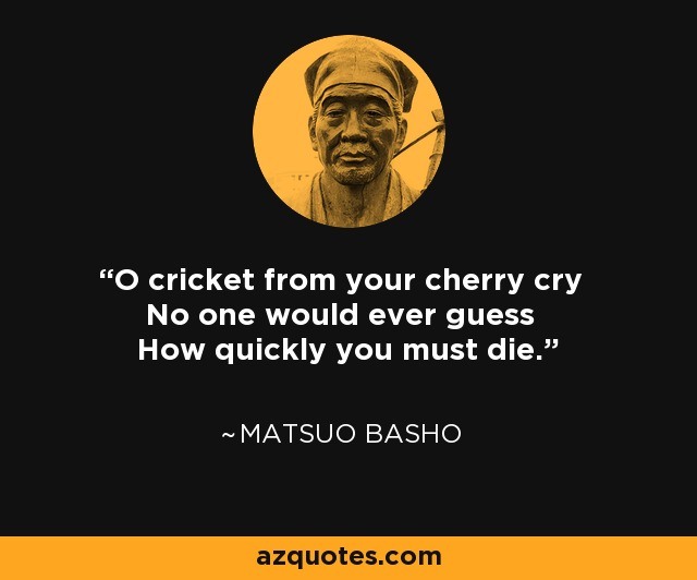 O cricket from your cherry cry No one would ever guess How quickly you must die. - Matsuo Basho