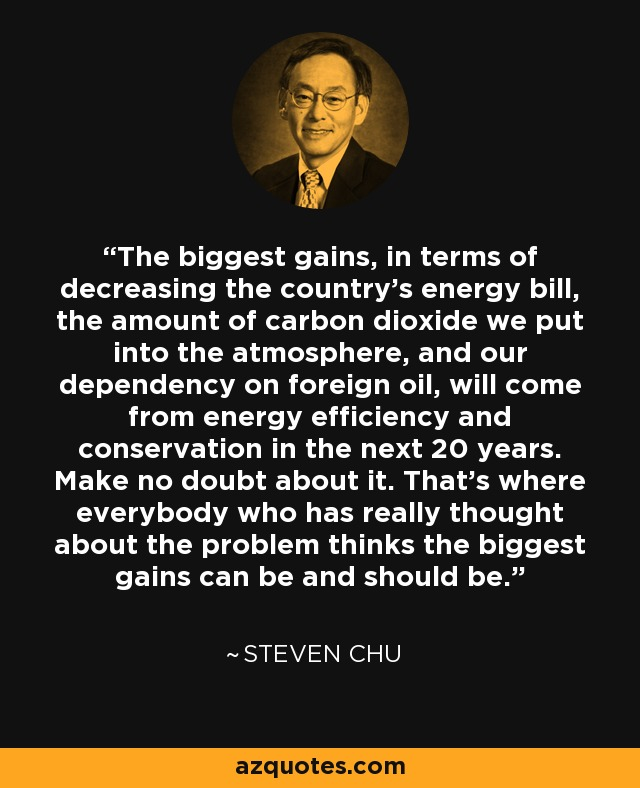 The biggest gains, in terms of decreasing the country's energy bill, the amount of carbon dioxide we put into the atmosphere, and our dependency on foreign oil, will come from energy efficiency and conservation in the next 20 years. Make no doubt about it. That's where everybody who has really thought about the problem thinks the biggest gains can be and should be. - Steven Chu