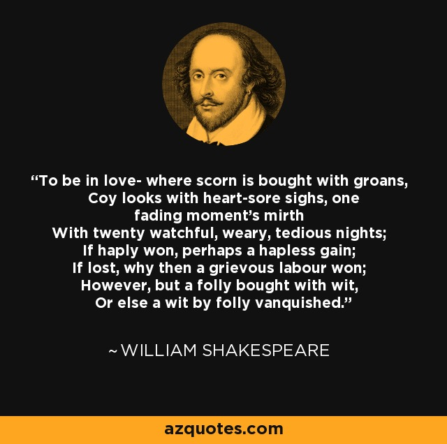 william shakespeare quote to be in love where scorn is