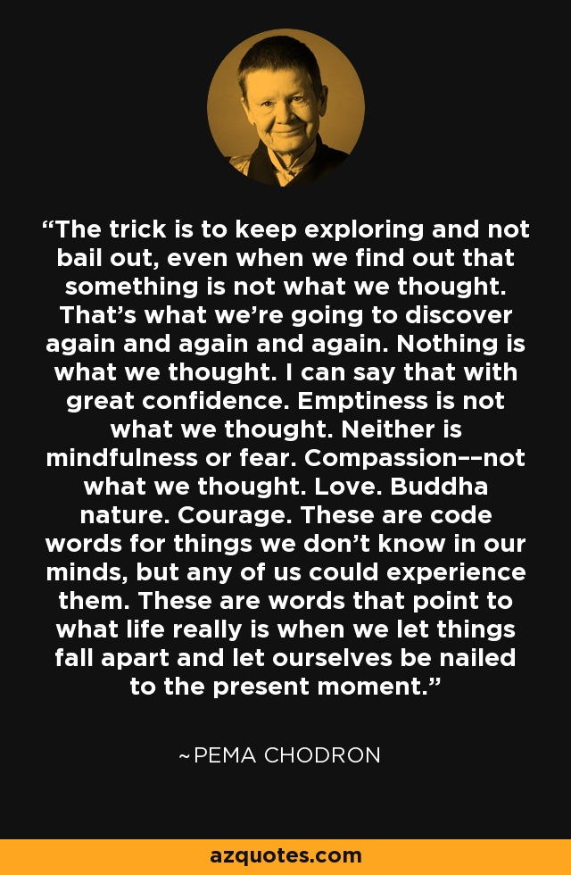 The trick is to keep exploring and not bail out, even when we find out that something is not what we thought. That's what we're going to discover again and again and again. Nothing is what we thought. I can say that with great confidence. Emptiness is not what we thought. Neither is mindfulness or fear. Compassion––not what we thought. Love. Buddha nature. Courage. These are code words for things we don't know in our minds, but any of us could experience them. These are words that point to what life really is when we let things fall apart and let ourselves be nailed to the present moment. - Pema Chodron