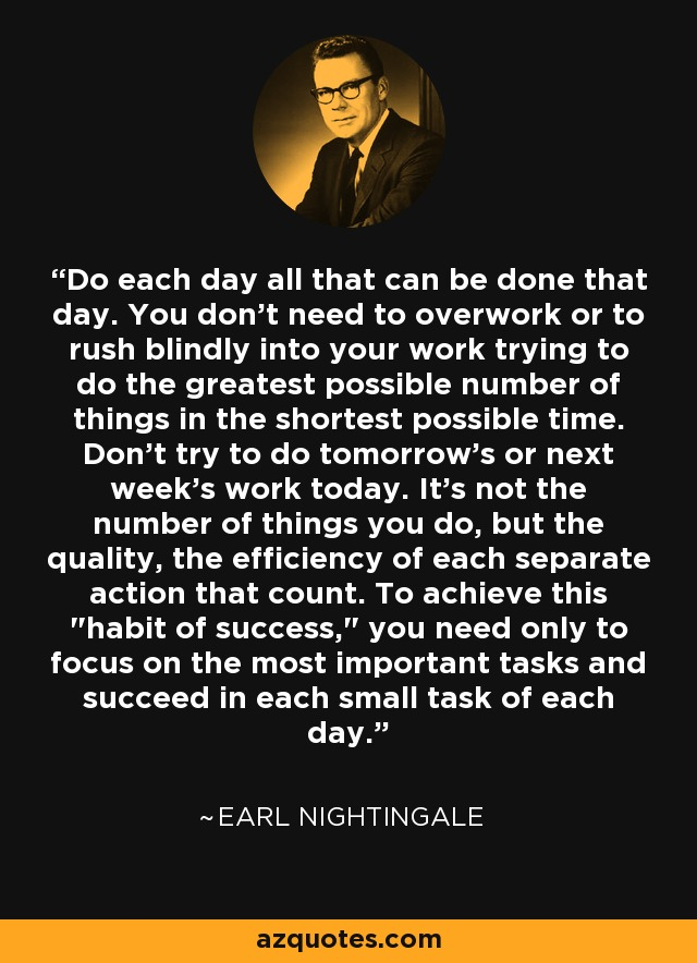 Do each day all that can be done that day. You don't need to overwork or to rush blindly into your work trying to do the greatest possible number of things in the shortest possible time. Don't try to do tomorrow's or next week's work today. It's not the number of things you do, but the quality, the efficiency of each separate action that count. To achieve this