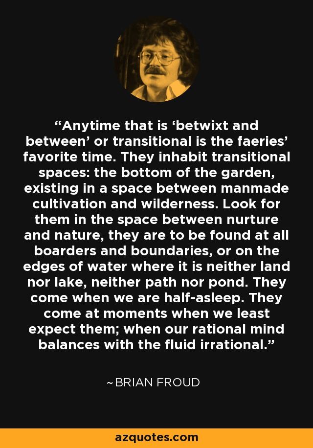 Anytime that is 'betwixt and between' or transitional is the faeries' favorite time. They inhabit transitional spaces: the bottom of the garden, existing in a space between manmade cultivation and wilderness. Look for them in the space between nurture and nature, they are to be found at all boarders and boundaries, or on the edges of water where it is neither land nor lake, neither path nor pond. They come when we are half-asleep. They come at moments when we least expect them; when our rational mind balances with the fluid irrational. - Brian Froud