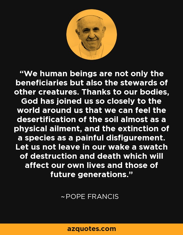 We human beings are not only the beneficiaries but also the stewards of other creatures. Thanks to our bodies, God has joined us so closely to the world around us that we can feel the desertification of the soil almost as a physical ailment, and the extinction of a species as a painful disfigurement. Let us not leave in our wake a swatch of destruction and death which will affect our own lives and those of future generations. - Pope Francis