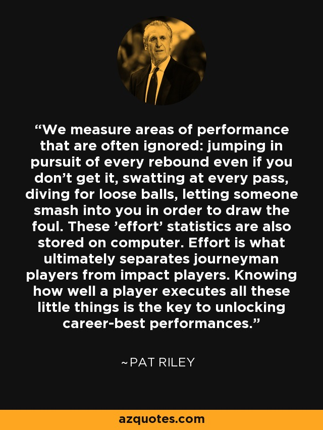 We measure areas of performance that are often ignored: jumping in pursuit of every rebound even if you don't get it, swatting at every pass, diving for loose balls, letting someone smash into you in order to draw the foul. These 'effort' statistics are also stored on computer. Effort is what ultimately separates journeyman players from impact players. Knowing how well a player executes all these little things is the key to unlocking career-best performances. - Pat Riley