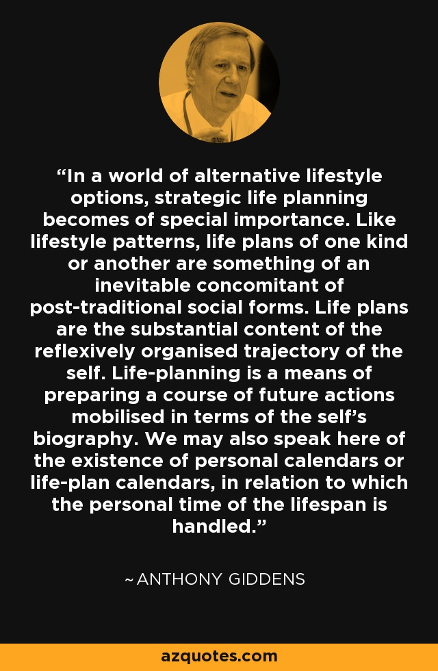 In a world of alternative lifestyle options, strategic life planning becomes of special importance. Like lifestyle patterns, life plans of one kind or another are something of an inevitable concomitant of post-traditional social forms. Life plans are the substantial content of the reflexively organised trajectory of the self. Life-planning is a means of preparing a course of future actions mobilised in terms of the self's biography. We may also speak here of the existence of personal calendars or life-plan calendars, in relation to which the personal time of the lifespan is handled. - Anthony Giddens