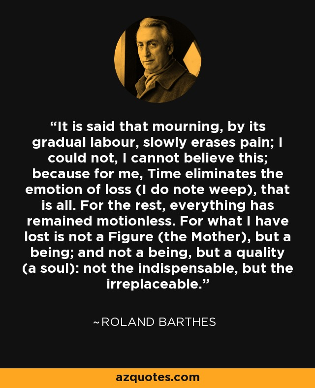 It is said that mourning, by its gradual labour, slowly erases pain; I could not, I cannot believe this; because for me, Time eliminates the emotion of loss (I do note weep), that is all. For the rest, everything has remained motionless. For what I have lost is not a Figure (the Mother), but a being; and not a being, but a quality (a soul): not the indispensable, but the irreplaceable. - Roland Barthes